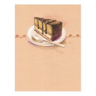 Cartão com o bolo pintado da aguarela