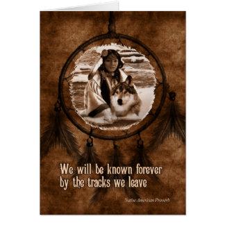 Cartão Com o lobo Dreamcatcher do nativo americano da