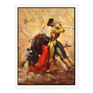 Cartão com o poster da luta de Bull do vintage