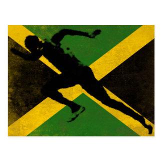 Cartão com o velocista na bandeira de Jamaica
