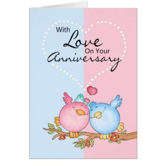 Cartão com os dois pássaros Loving - Anniversa do