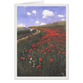 Cartão com papoilas pintadas