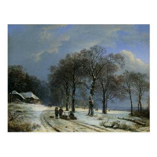 Cartão com pintura de Barend Cornelis Koekkoek