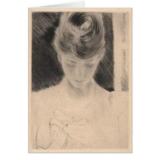 Cartão com pintura de Paul Cesar Helleu