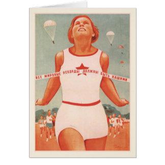 Cartão com propaganda de União Soviética do vintag