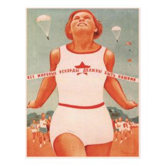 Cartão com propaganda de União Soviética do vintag Cartão Postal