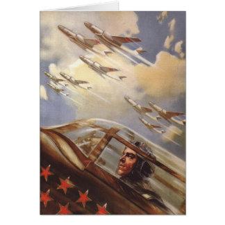 Cartão com propaganda velha da força aérea de URSS