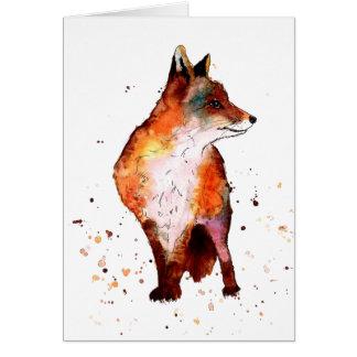 Cartão com raposa handgemaltem velho com acordo de