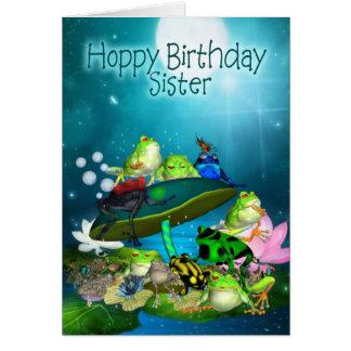 Cartão com sapos da fantasia - aniversário Hoppy