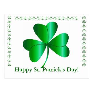 Cartão com trevo, cumprimento do dia de St Patrick
