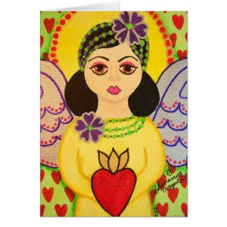Cartão com um estilo da arte popular do anjo
