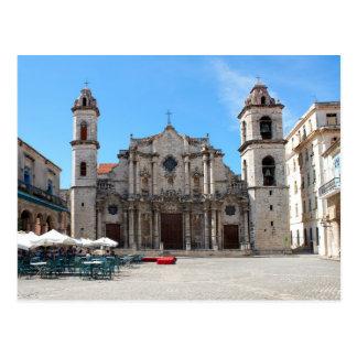 Cartão com uma imagem da catedral de Havana