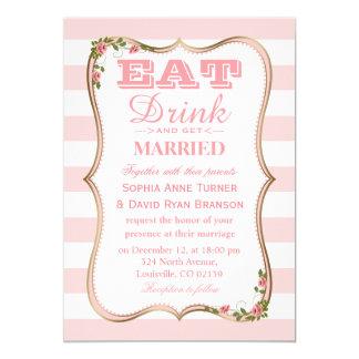 Cartão COMA a bebida e case-se coram casamento floral