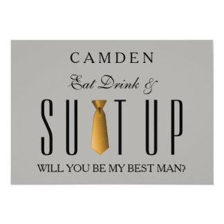 Cartão Coma a bebida & ouro de Suitup você será meu