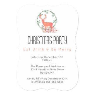 Cartão Coma a bebida seja festa de Natal alegre da rena