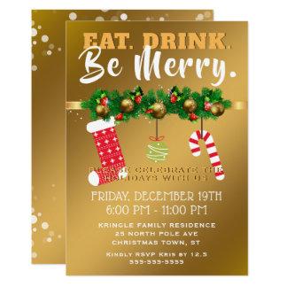 Cartão Coma a bebida seja festa natalícia festiva alegre