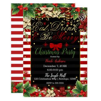 Cartão Coma a bebida seja festa natalícia vermelha alegre