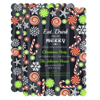 Cartão Coma a bebida seja flocos de neve dos doces do