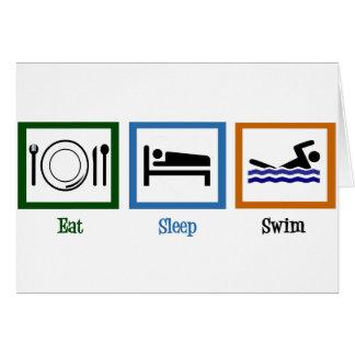 Cartão Coma a natação do sono