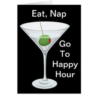 Cartão Coma a sesta vão ao feliz aniversario de Martini