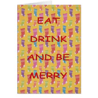 Cartão Coma as meias da bebida vermelhas