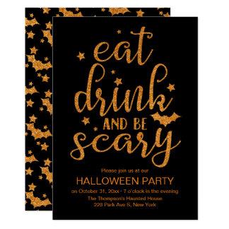 Cartão Coma, bebida e seja brilho assustador, bonito o