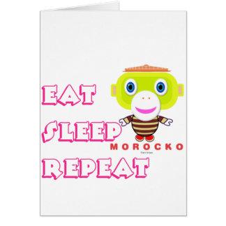 Cartão Coma o Macaco-Morocko Repetição-Bonito do sono