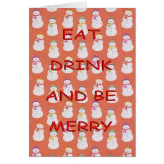 Cartão Coma os bonecos de neve vermelhos da bebida