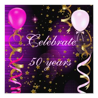Cartão Comemore 50 estrelas roxas cor-de-rosa da 50th