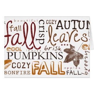 Cartão Comemore cumprimentos da acção de graças do outono