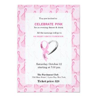 Cartão Comemore o evento cor-de-rosa