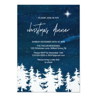 Cartão Comensal de Natal da noite estrelado