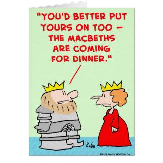 Cartão comensal shakespeare dos macbeths da armadura da