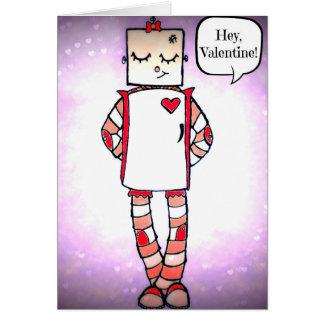 Cartão cómico bonito do dia dos namorados do robô