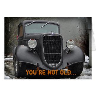 Cartão cómico da amizade do caminhão do vintage