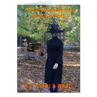 Cartão cómico da bruxa do Dia das Bruxas
