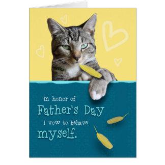 Cartão cómico do dia dos pais com gato
