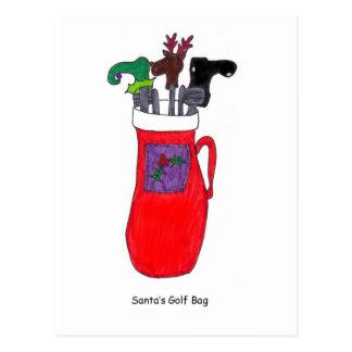 Cartão cómico do Natal do saco de golfe do papai Cartão Postal