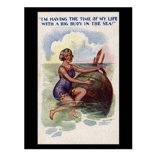 Cartão cómico velho - divertimento com uma bóia