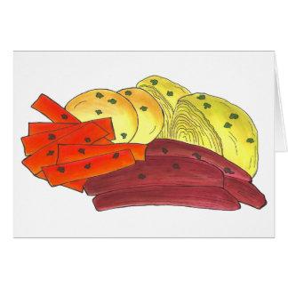 Cartão Comida feliz da couve da carne em lata do dia de