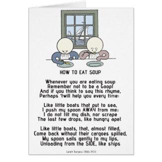 Cartão Como comer a sopa - os lodos