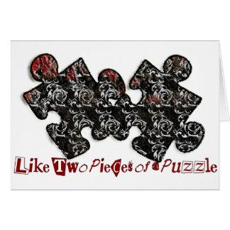 Cartão Como duas partes de um quebra-cabeça