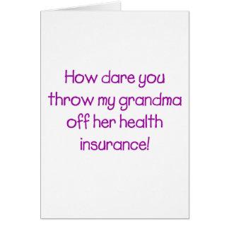 Cartão Como o desafio você joga minha avó fora de seus