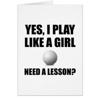 Cartão Como um golfe da menina