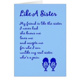 Cartão Como uma irmã - um pensamento parvo de você poema