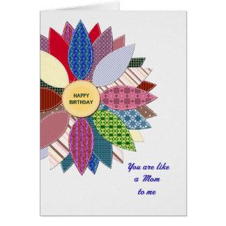 Cartão Como uma mamã a mim, costurado aniversário da flor