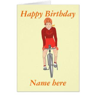 Cartão Competindo o ciclista, a mulher adiciona o nome e