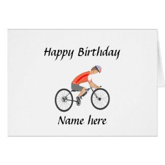 Cartão Competindo o ciclista, adicione o texto