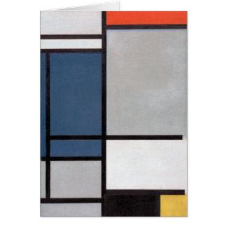 Cartão Composição de Mondrian com vermelho, azul, preto,