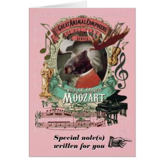 Cartão Compositor animal engraçado da música de Moozart